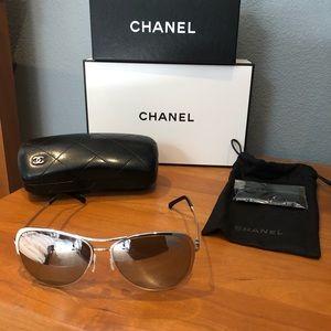 Chanel Silver Aviator Sunglasses